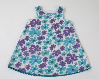 Turquoise & Blue Daisy Toddler Girls' Dress, Handmade Girls' Dress, Sundress, Toddler Dress, Pinafore, Summer Dress - Size 2T