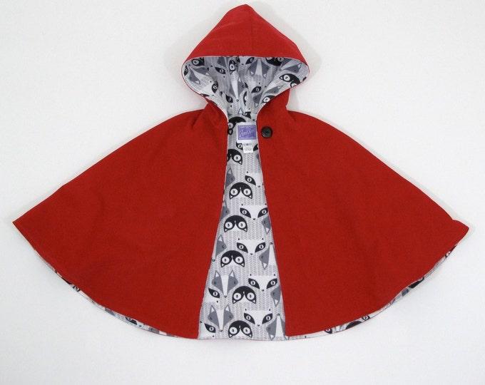Girls Little Red Riding Hood Cape, Girls Cape, Baby Cape, Toddler Cape, Red Riding Hood Costume, Cloak, Coat, Capelet, Newborn to Girls 10