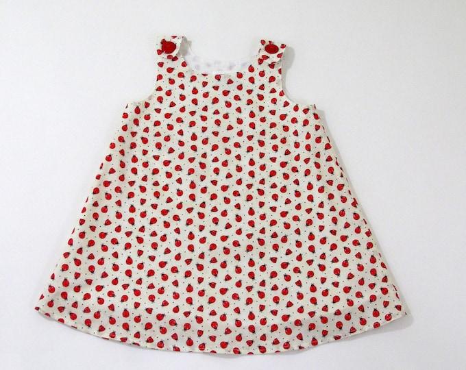 Ladybug Girls' Dress, Beige Toddler Girls' Dress with Red Ladybugs,  Toddler Girls' Dress Size 2T, Children's Clothing