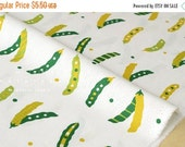 Japanese Fabric - peas canvas - green, white - 50cm