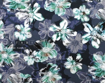 Japanese Fabric Ponte Knit - painted flowers - 50cm