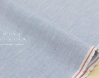 Japanese Fabric - yarn dyed tiny stripes - cream, blue - 50cm