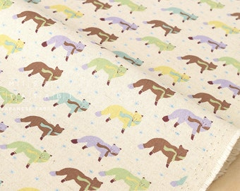 Japanese Fabric Kokka Animal World - chilly fox - natural, green - fat quarter