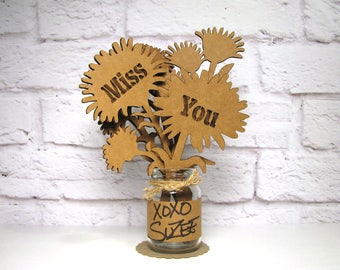 Gift For Her - MISS YOU - Corrugated Cardboard Flowers Bouquet In Mini Mason Jar Great Gift Idea