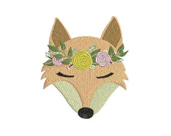 Machine Embroidery Whimsical Boho Fox Face Machine Embroidery File design 5x7 inch hoop