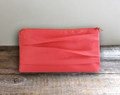 Coral Satin Pleated Bridesmaid Clutch- Wedding Purse