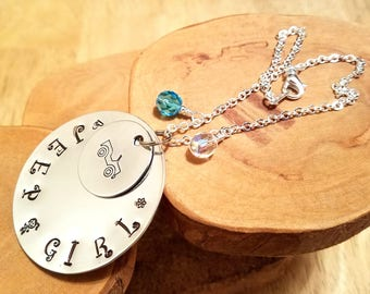 JEEP GIRL rear view mirror suncatcher hand stamped with your choice of crystal colors