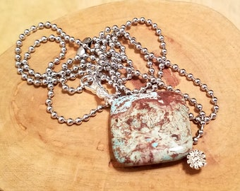 Montana brown and turquoise blue gemstone pendant necklace on a stainless steel ball chain you pick the length