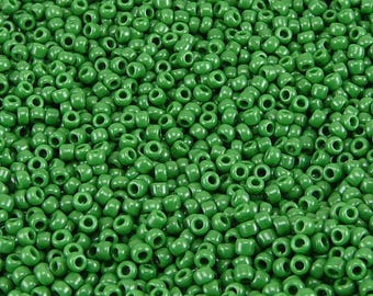 TOHO 11/0 Round Seed Beads - Opaque Pine Green - 20 gram Bag - Shamrock Grass Forest Pine Tree Deep - Color Code 47H - Jar 85