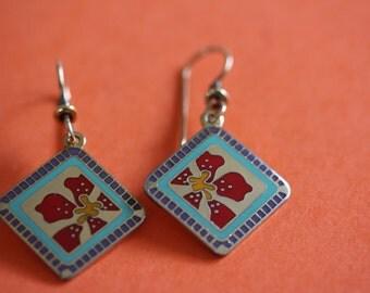 vintage Laurel Burch JASMINE FOR JODI dangle pierced earrings
