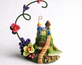Miniature  Charming Whimsy Fairy House Colony with Pond OOAK by C. Rohal