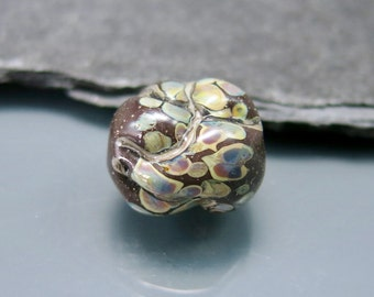 Handmade Lampwork Organic Focal Bead by GlassBeadArt  ... SRA F12 ... 17x16mm  rock shaped freeformed focal