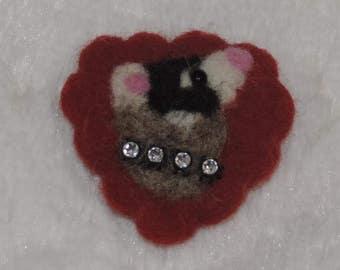 ferret, ferret pin, ferret deco, needle felted ferret,weasel,ferret lover,sable ferret,sable