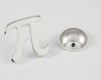 Pi Lapel Pin, Sterling Silver