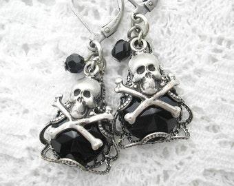 Jet Black Glass Antiqued Silver Skull Earrings
