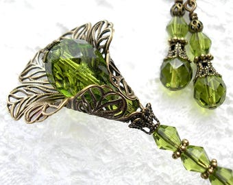Olivine Glass Beaded Hat Stick Lapel Pin with Earrings Victorian Style Jewelry Set