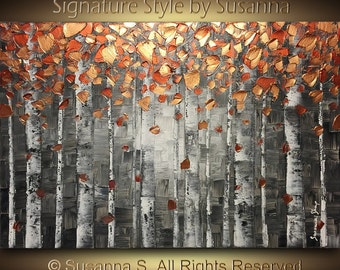 ORIGINAL ART abstract painting oil painting landscape painting birch trees painting aspen tree art abstract art large wall art on canvas