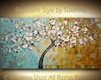 ORIGINAL White Cherry Blossom Tree Oil Painting Large Abstract Contemporary Thick Texture Gallery Fine Art by Susanna Ready to Hang 48x24
