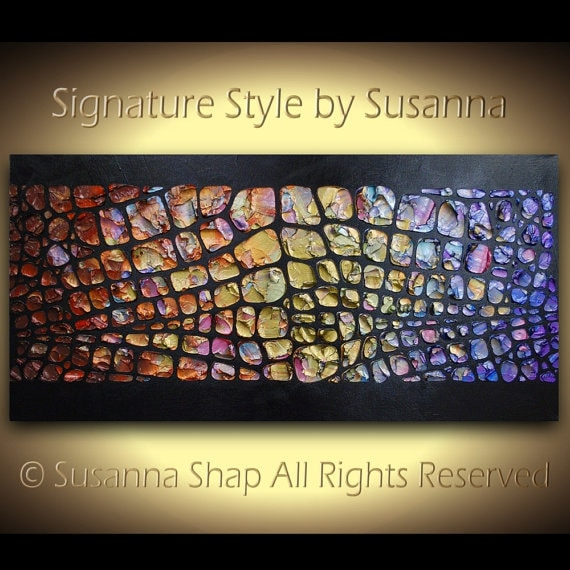 Large Abstract Painting Original Wall Art Textured Colorful Original Painting Multi Color Rainbow Palette Knife Painting Handmade by Susanna