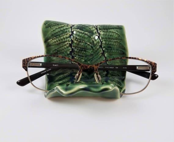 Business Card Holder - Cell Phone Holder - Eye Glasses Holder - Ceramic - Stoneware - Handmade Pottery - Green - Fern - Desk Accessory
