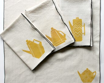 Teapot Designs Handmade Block Printed Napkin Set of Four- Cotton Napkin Set- Rolled hem edge