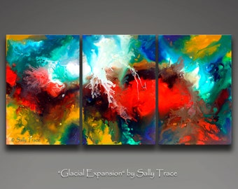 Canvas giclee prints from my original modern abstract triptych fluid painting, Glacial Expansion, 36x72 inches