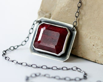 Ruby Necklace, Red Ruby Necklace, Faceted Ruby Necklace - A Cupid's Pride