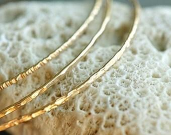 14k gold filled hammered skinny Stacking Bangles - set of 3 - 3 textures