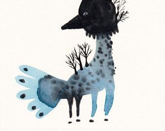 Tree Bird Original / gouache painting