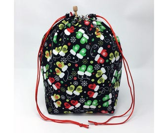 MOVING SALE - Holiday Christmas Winter Mittens Knitting Drawstring Project Bag