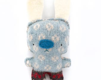 Blue Rabbit - Recycled Wool Sweater Plush Toy