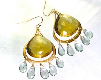 Large Luxe Lemon Quartz, Moss Aquamarine, 22kg vermeil chandelier earrings...