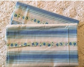 BIG SALE - Pair of Vintage Pillow Ticks - Pillow Cover - Blue Stripes New Old Stock - Flowers - Heavy Cotton Pillow Slips - Farmhouse Linens