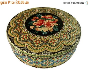 BIG SALE - Mosaic Cookie Tin - Colorful - Black Gold Red Floral - Storage Box - 1950s - Ornate Metal Round Container - 1940s