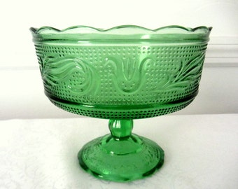 Green Glass Footed Bowl, Candy Dish Or Compote By E O Brody Co. Cleveland Ohio