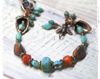 Bee bracelet, Flower charm bracelet for her, Bohemian bracelet for women, Boho chic bracelet for women, Lily flower bracelet,