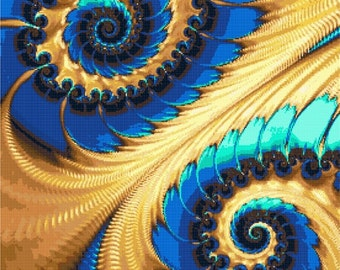 Blue and yellow spiral fractal counted cross stitch kit