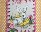 Crochet Easter Ornament - It's Easter Time - Recycled Vintage Greeting Card