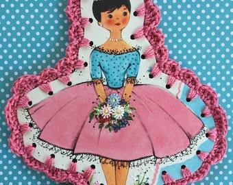 Crochet Card / Ornament / Tag - Sweet Girl / Vintage Greeting