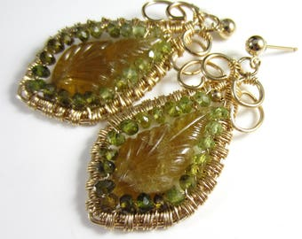 The Dangling Leaves Earrings - Carved Tourmaline with Petrol Tourmaline in 14k Gold Fill