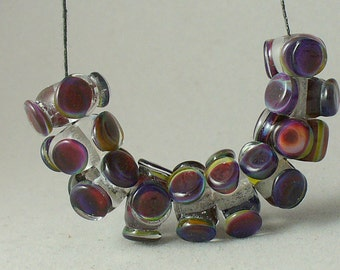 lampwork beads/glass beads/beads/sra lampwork/purple,burgundy/pods/colorful/reactive glass/Multicolor/