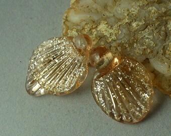 lampwork beads/sra lampwork/beads/handmade/golden/peach/silver glitter/fairy wings/