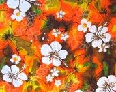 "Hawaiian barkcloth style fabric -- vintage 1970s/80s Polynesian textiles -- hibiscus print, orange, yellow, brown -- 45"" x 1.25 yards"