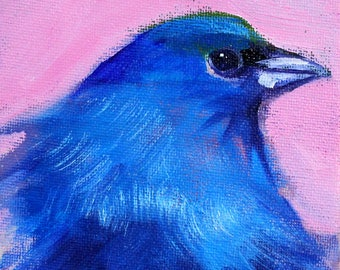 Blue Bird, Original, Oil Painting, Animal Portrait, Small 4x5, Wall Decor, Little Tiny, Creature, Pink Background, Canvas, Wild Miniature