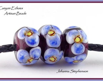 Big Hole Blue Flowers on Purple Lampwork Bead Set