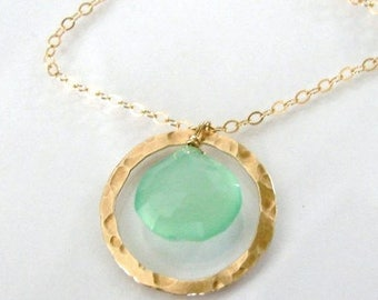 Luminous Aqua Green Faceted Chalcedony  Haloed By a Hammered Vermeil Circle - 14K Gold Filled or Sterling Silver Necklace