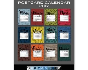2017 Postcard Desk Calendar Refill - No Case - (12) Twelve Month - Eco-Friendly Recycled Matte Paper