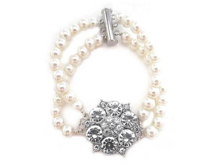 Ivory Pearl Bracelet with Rhinestone Flower Brooch