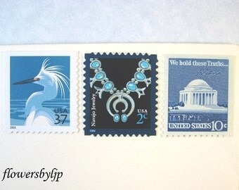 Blue Postage Stamps 49 cent rate, White Egret - Turquoise Stones - Jefferson Memorial DC Stamps, Mail 10 Letters - RSVP Cards postage unused