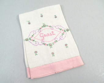 Vintage guest towel, hand towel, embroidered, shabby chic pink and white hand embroidered bathroom guest towel